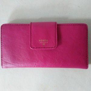Fossil Tab Clutch Wallet Pink